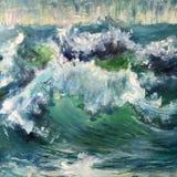 Чертеж больших волн моря иллюстрация вектора