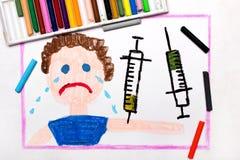 Чертеж: Вакцинирование ребенка Плача мальчик и шприц бесплатная иллюстрация