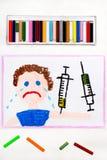 Чертеж: Вакцинирование ребенка Плача мальчик и шприц иллюстрация штока