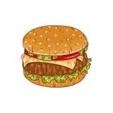 Чертеж вектора гамбургера в стиле шаржа также вектор иллюстрации притяжки corel Стоковое Фото