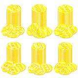 Чертеж вектора установленных золотых монеток с различным миром символов валюты иллюстрация вектора