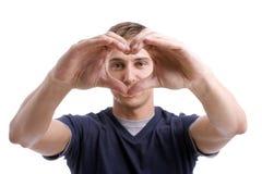 чертеж вручает детенышей человека сердца Стоковое фото RF