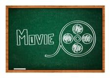 Чертеж вьюрка фильма на зеленой доске стоковые фото