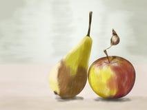 Чертеж груши и яблока Стоковые Изображения RF