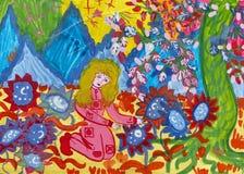 """Чертеж детей для рассказа Kir Bulychov """"Алисы и тайны третьей планеты """" Гуашь на бумаге Наивнонатуралистическое искусство бесплатная иллюстрация"""