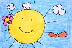 чертеж дня crayon солнечный Стоковые Фотографии RF