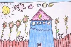 чертеж дня crayon солнечный Стоковое Изображение RF