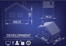 Чертеж дома на голубой предпосылке Стоковое Изображение