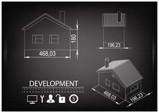 Чертеж дома на черной предпосылке Стоковая Фотография RF