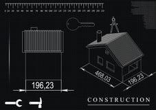Чертеж дома на черной предпосылке Стоковая Фотография