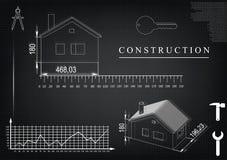 Чертеж дома на черной предпосылке Стоковое Изображение RF
