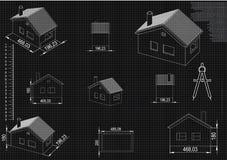 Чертеж дома на черной предпосылке Стоковое Фото