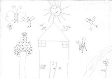 Чертеж девушки беженца Стоковая Фотография