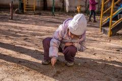 Чертеж девушки в песке Стоковые Фотографии RF