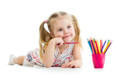 Карандаши чертежа девушки малыша Стоковые Изображения