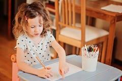 Чертеж девушки ребенка Preschooler с карандашами дома Стоковые Фотографии RF