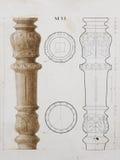 Чертеж детали старой мебели архитектурноакустический Стоковые Фото