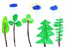 Чертеж детей дождя лета Стоковые Фото