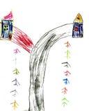 Чертеж детей дорога и дома Стоковое фото RF
