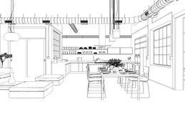 Чертеж живущей комнаты дизайна интерьера изготовленный на заказ Стоковая Фотография RF