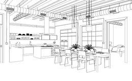 Чертеж живущей комнаты дизайна интерьера изготовленный на заказ Стоковое Изображение