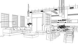 Чертеж живущей комнаты дизайна интерьера изготовленный на заказ Стоковые Фото