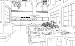 Чертеж живущей комнаты дизайна интерьера изготовленный на заказ Стоковые Изображения