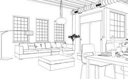 Чертеж живущей комнаты дизайна интерьера изготовленный на заказ Стоковая Фотография