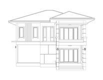 Чертеж жилищного строительства 3D & x28; переднее view& x29; Стоковые Изображения