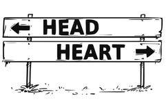 Чертеж знака стрелки дорожного блока решения головы или сердца Стоковое Фото