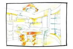 Чертеж дизайна кухни Стоковое фото RF