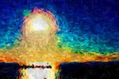 чертеж импрессионизма захода солнца Стоковые Изображения RF