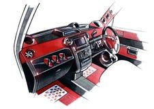 Чертеж исключительного дизайна интерьера автомобиля с разработкой всех элементов современного пассажира Иллюстрация штока