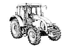 Чертеж искусства иллюстрации аграрного трактора Стоковые Изображения RF