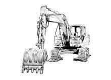 Чертеж искусства экскаватора изолированный иллюстрацией Стоковые Фото
