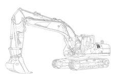 Чертеж искусства экскаватора изолированный иллюстрацией иллюстрация вектора