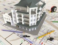 Чертеж и план дома архитектурноакустические Стоковое Фото