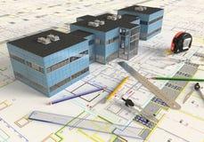 Чертеж и план дома архитектурноакустические Стоковое фото RF