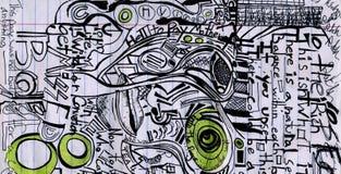 Чертеж иллюстрации и случайные scribbles и мысли примечаний стоковые изображения rf