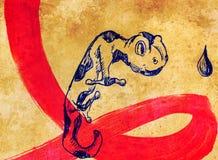 Чертеж карандаша на старой бумаге Нарисованная рука ящерицы Стоковое Изображение