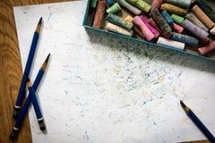 Чертеж карандаша EE, покрашенный мел, бумажное искусство Стоковая Фотография RF