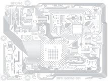 Чертеж компьютера вектора монтажной платы - электронный Стоковая Фотография RF