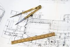 чертеж конструкции компаса Стоковое Фото