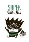 Чертеж кота супергероя для поздравительной открытки или печати тройника иллюстрация штока