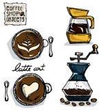 Чертеж кофе возражает c Стоковая Фотография RF
