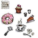 Чертеж кофе возражает f Стоковые Изображения RF