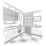 Чертеж кухни внутренний Стоковое Фото