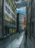 Чертеж ландшафта города, украшение акварели, предпосылка, в темных тонах, многоэтажные здания старого города, окна, Стоковая Фотография RF