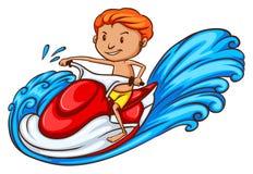 Чертеж мальчика наслаждаясь ездой воды Стоковые Изображения