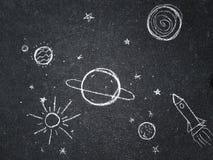 Чертеж мела Космос, планеты и звезды покрашенные ` s детей Стоковое Изображение